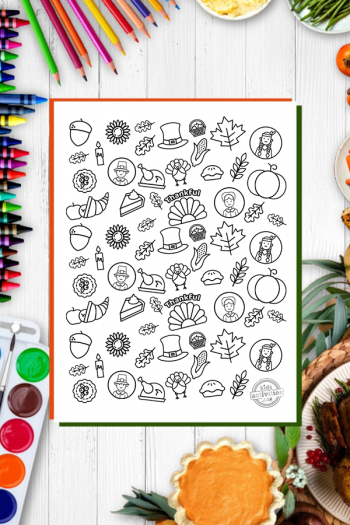 Thanksgiving Doodles Coloring Page