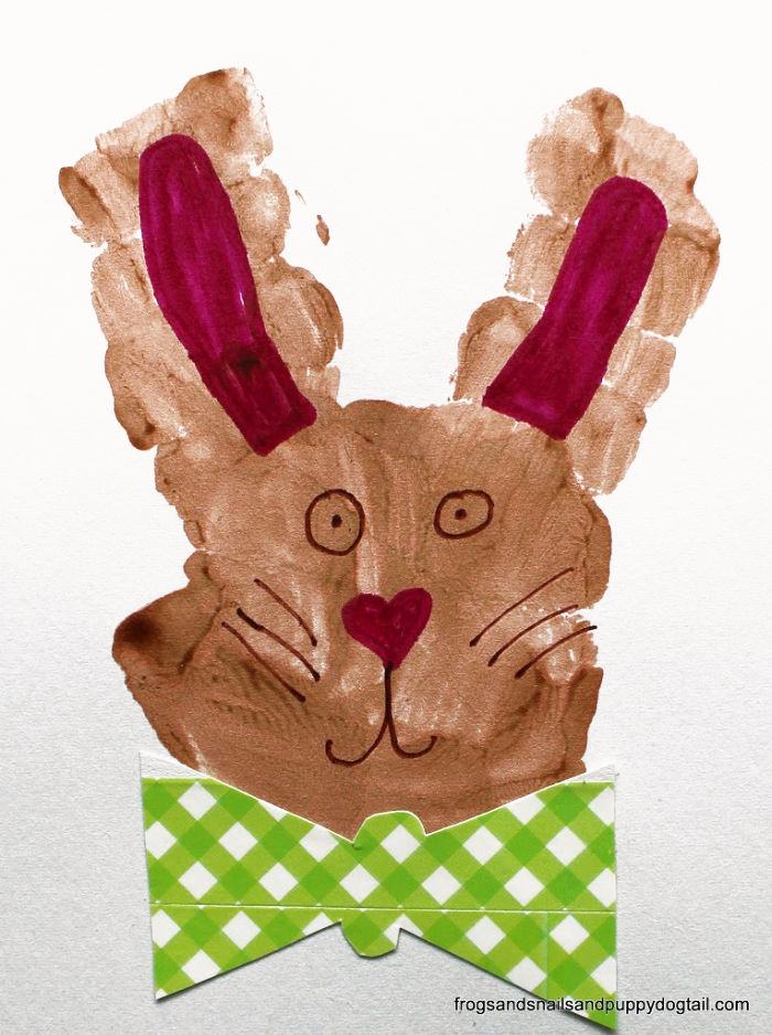 handprint bunny with a green plaid bow tie
