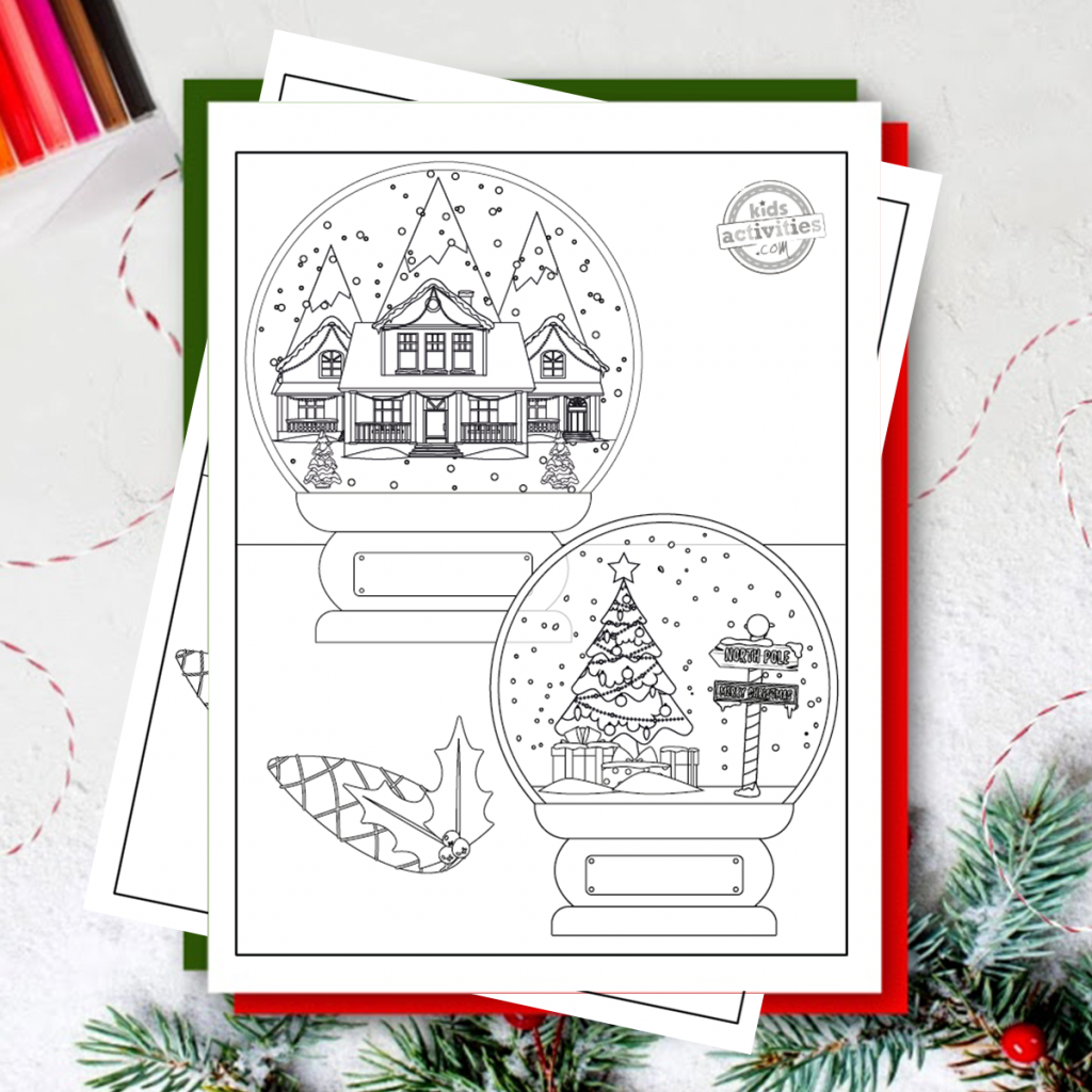 printable snow globe coloring pages