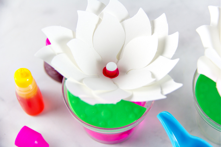 A paper flower changing colors with dye and water.