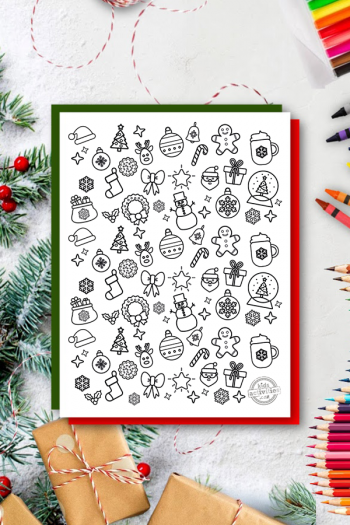 cute Christmas Doodles Coloring Page
