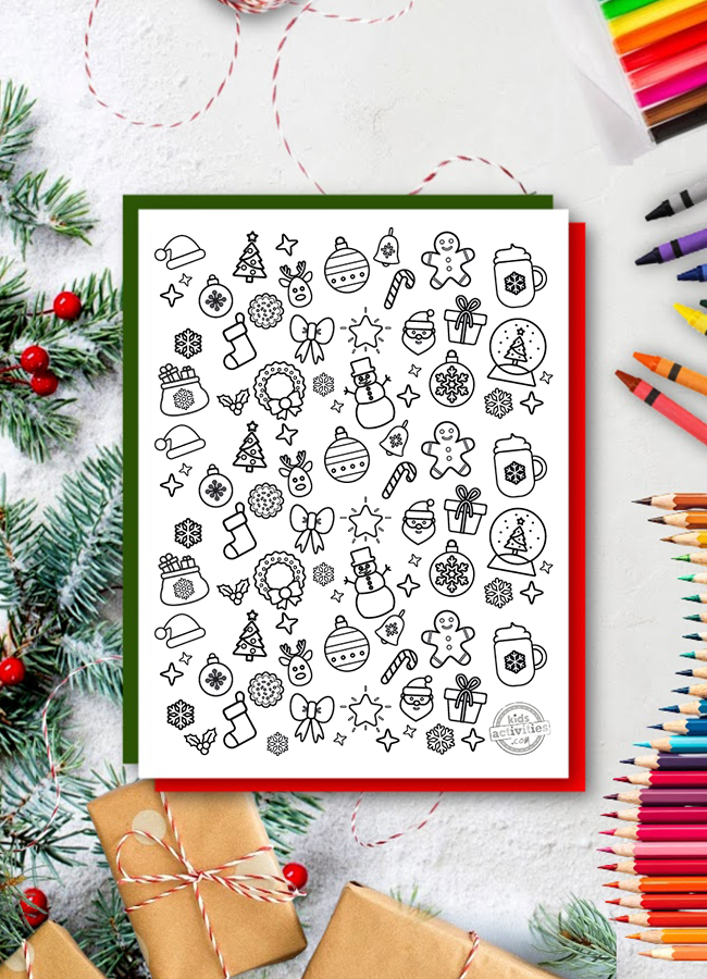 christmas doodles coloring pages from Kids Activities blog