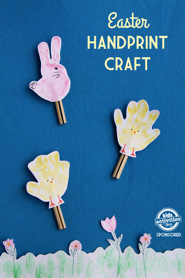 Easter handprint chicks and bunnies on clothes pins so they can be used as puppets