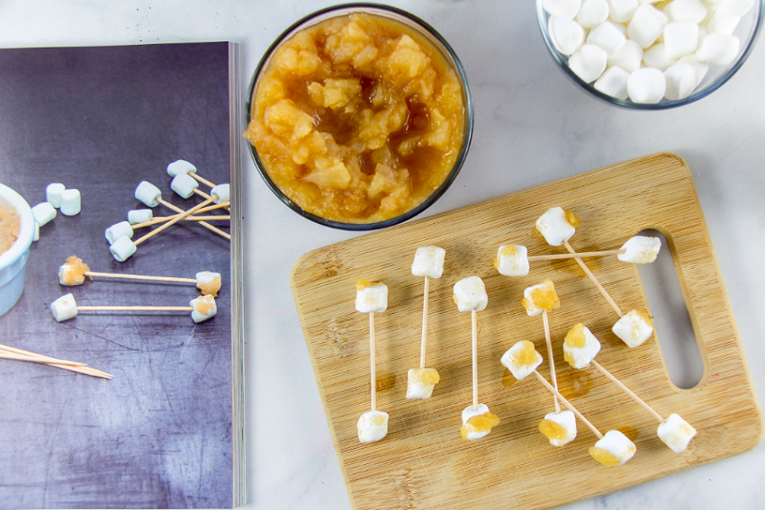 instructions to make earwax snacks from mini marshmallows and applesauce