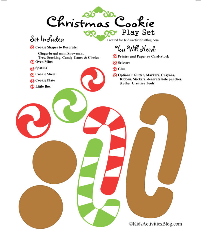printable Christmas cookie baking set from Kids Activities Blog - what the set includes and the supplies you will need to make this fun Christmas craft
