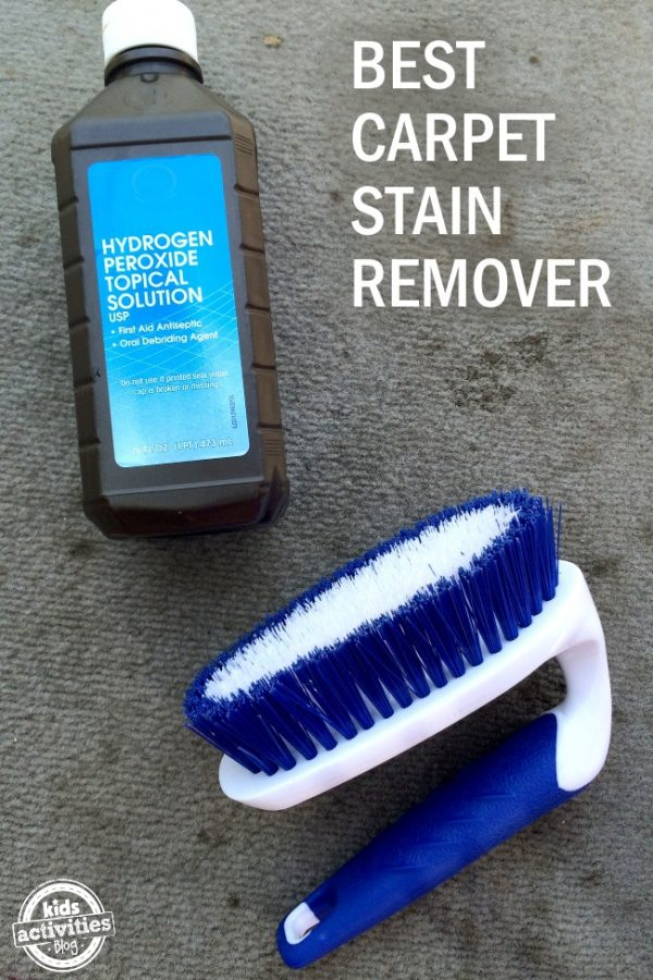 homemade carpet cleaner using hydrogen peroxide to remove stains.
