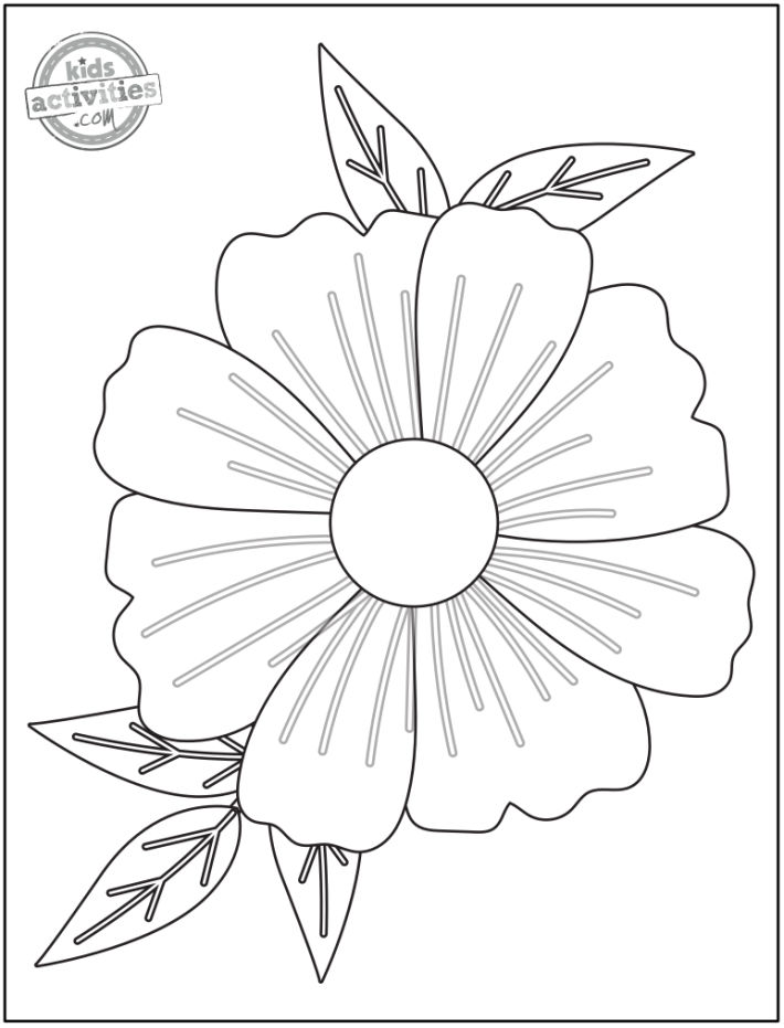 simple flower coloring page pattern perfect for preschoolers - Kids Activities Blog
