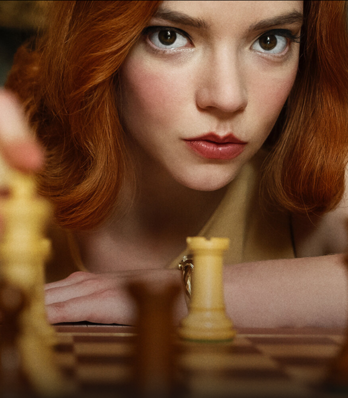 Beth Harmon from the Queen's Gambit showing that anyone can learn to play chess, at any age.
