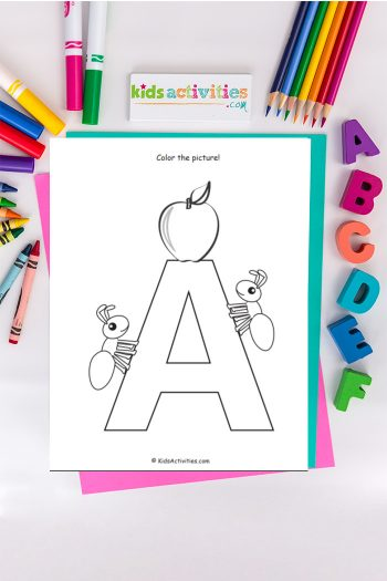 Letter A coloring page from Kids Activities Blog