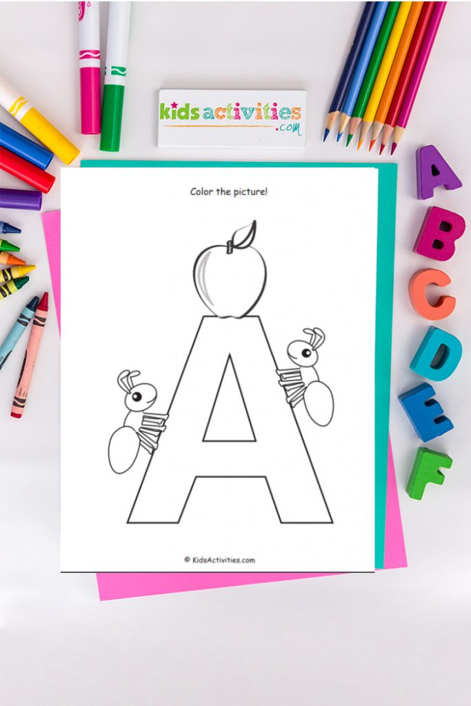 Letter A coloring page from Kids Activities Blog shown with A, B, C, colored pencils, markers, crayons and Kids Actitivities dot com.