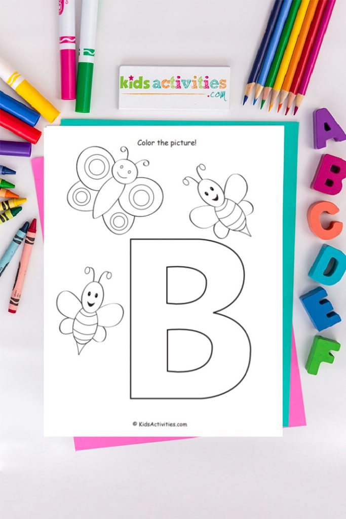 letter b coloring page with a butterfly and bumble bees, colored markers, colored pencils, abcdef stamps, and crayons