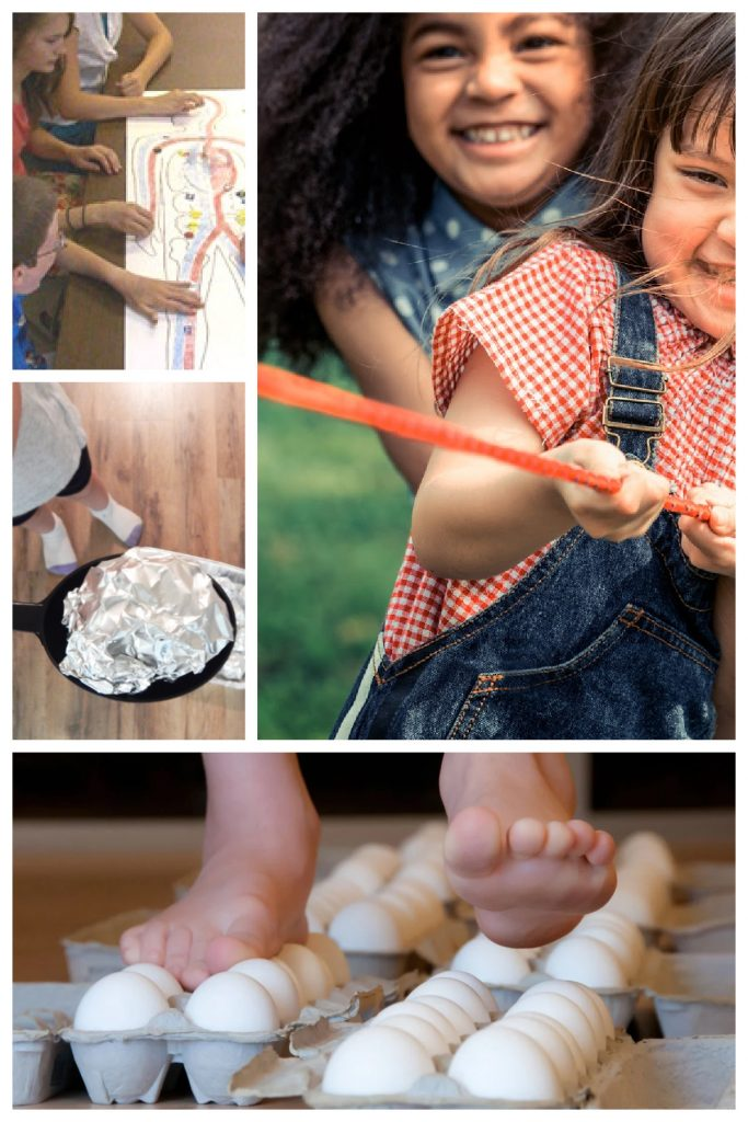 more science games for kids - walking on eggs, balancing an asteroid, the circulation game and playing tug of war.