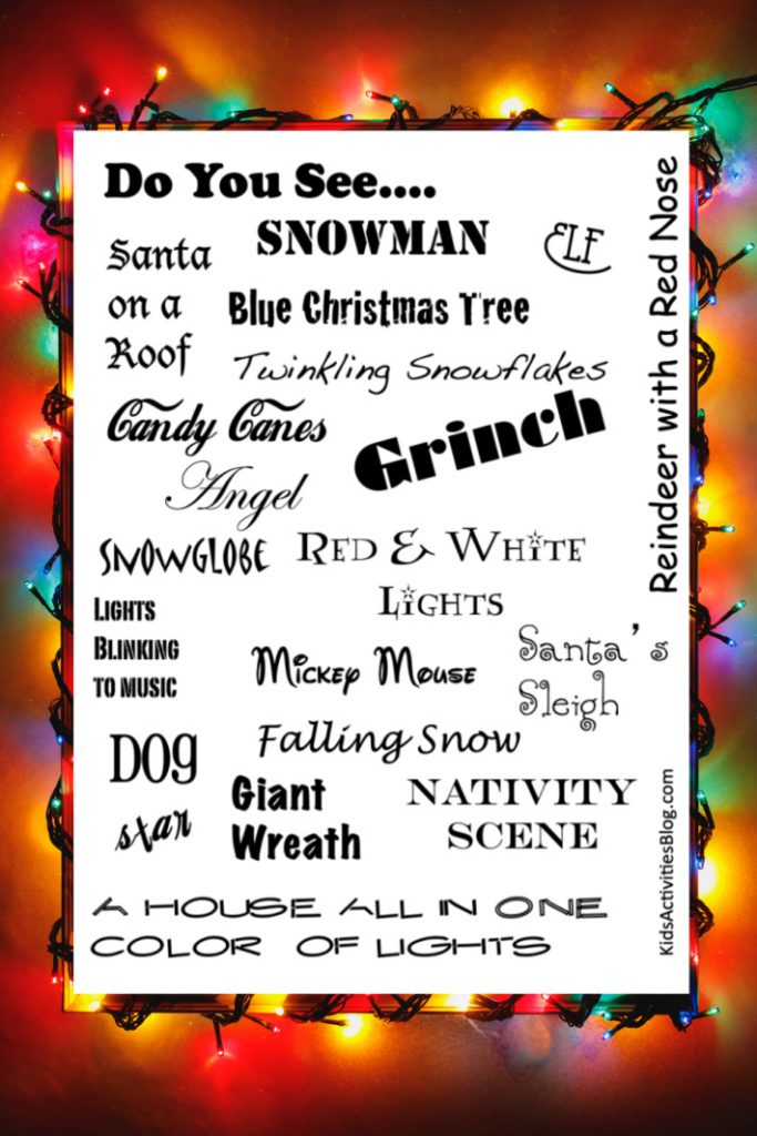 Kids Activities Blog printable Christmas game - light scavenger hunt to print & play shown here on lights in background