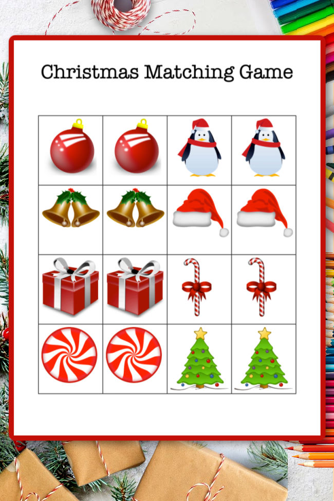 Printable Christmas matching game you can download, print, cut out and play.