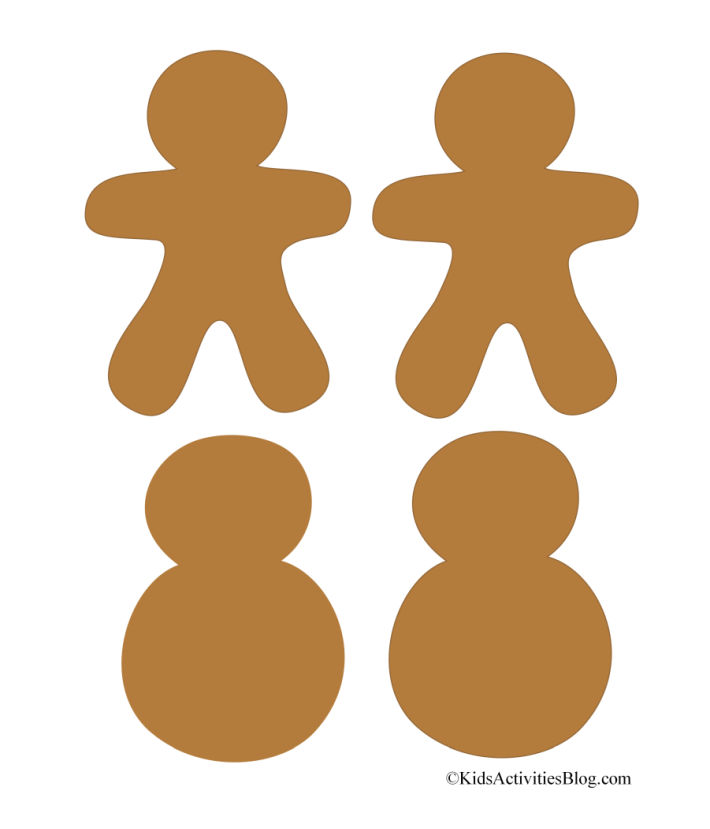 Cute printable gingerbread men and snowmen - 4 pictured on this Christmas pdf from Kids Activities Blog