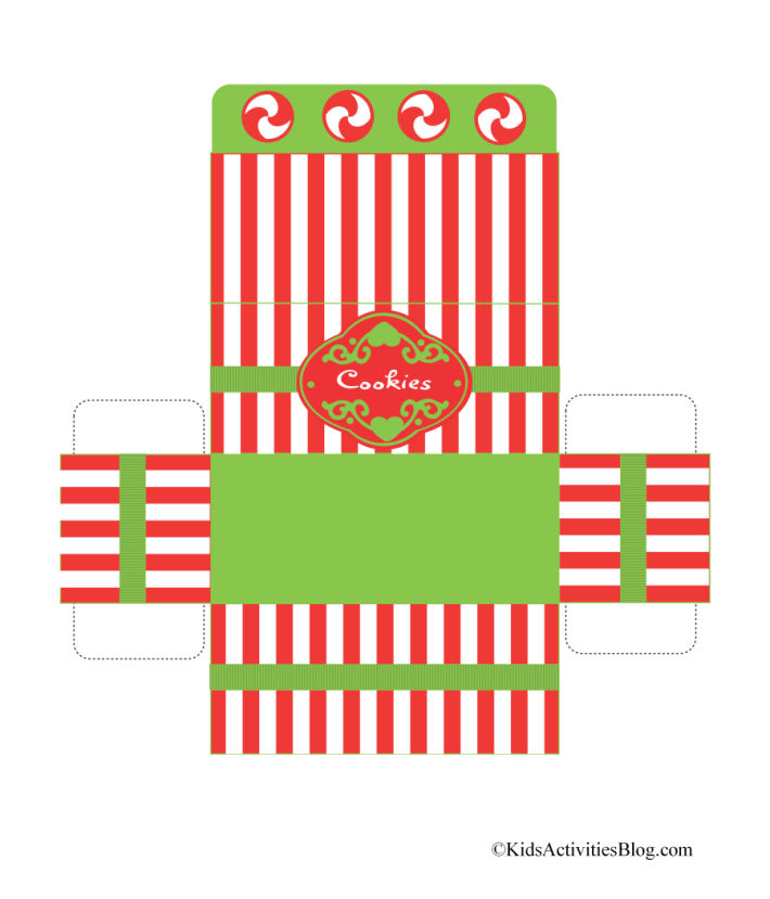 "printable foldable Christmas box for cookies - Kids activities Blog - red and white striped box with green trim that says ""cookies"""