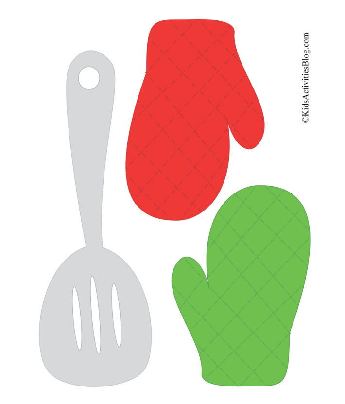 printable spatula and red and green oven mitts to go with the Christmas cookie baking set pdf - so cute