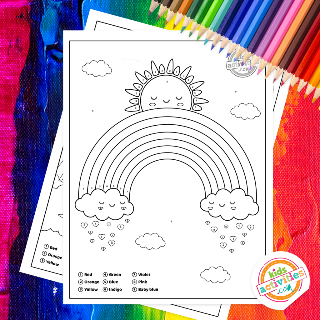 rainbow color by number free printable