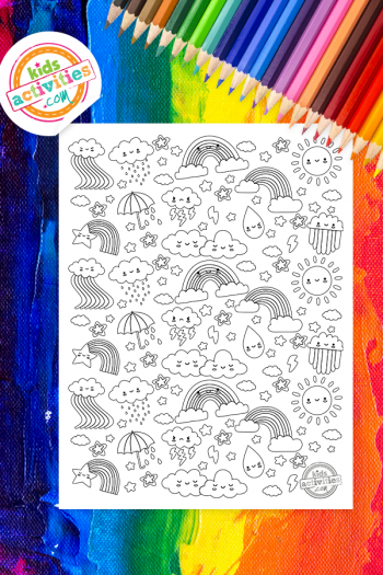 Rainbow Doodle Coloring Page
