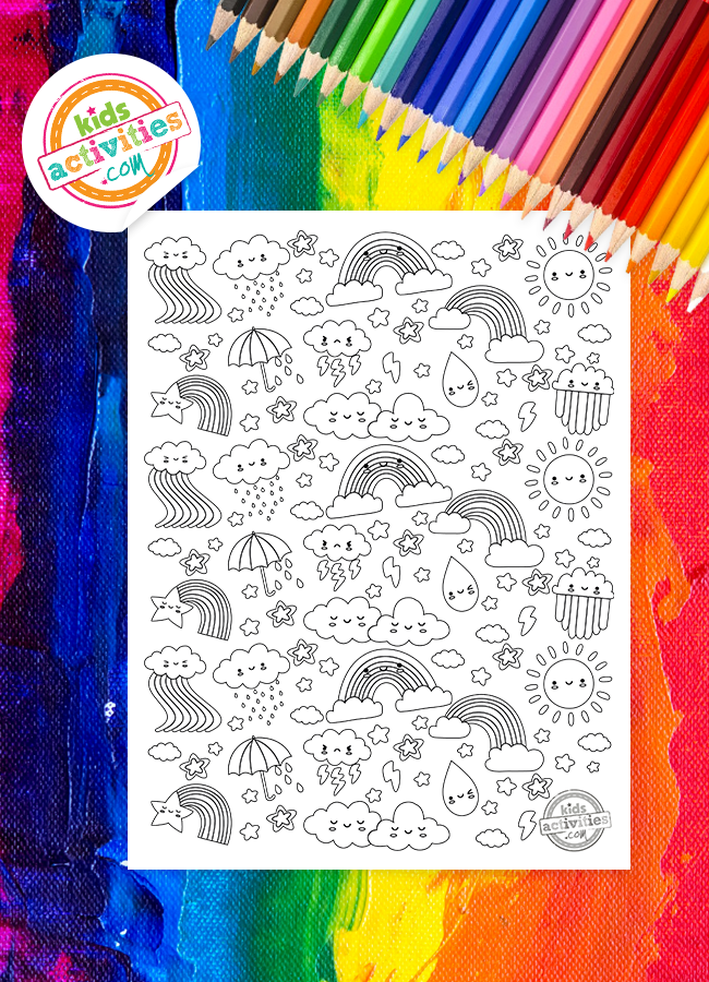 Free Rainbow Doodle Coloring Pages