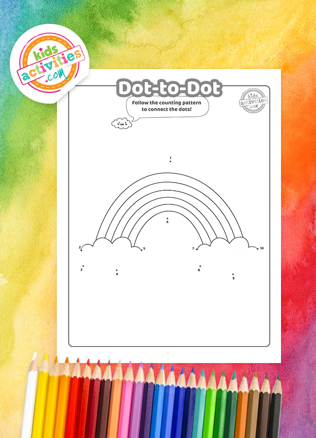 Dot-to-dot Rainbow Coloring Page
