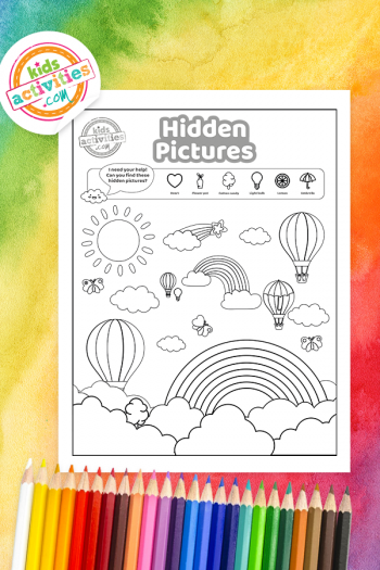 Rainbow Hidden Pictures Coloring Page