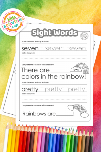Rainbow Sight Words Coloring Pages