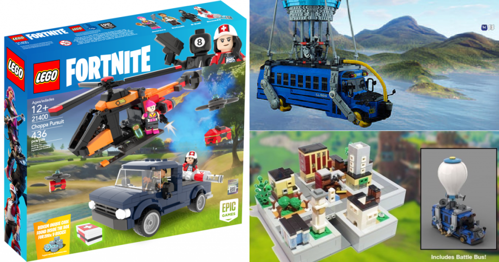 Three images. On one side is a Choppa LEGO set. On the other, an image of a battle bus is stacked on top of an image of another LEGO set