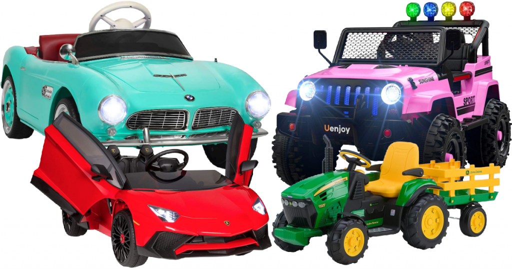A vintage car, a jeep, a fast lamborghini, and a tractor. All are battery powered for kids.