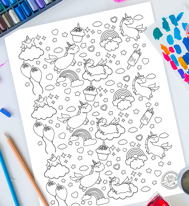 Free Unicorn Doodle Coloring Page For Kids