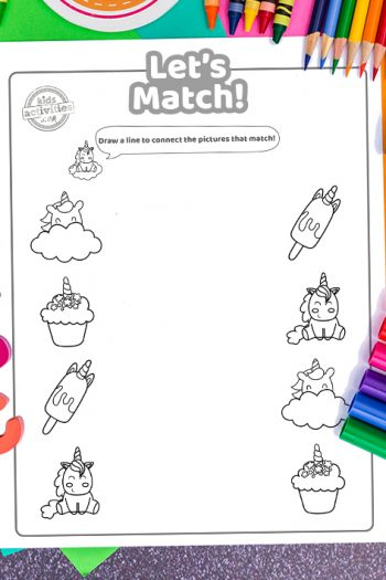 Unicorn Matching Coloring Pages
