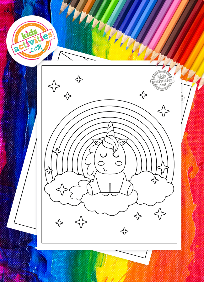 Awesome Unicorn Rainbow Coloring Pages