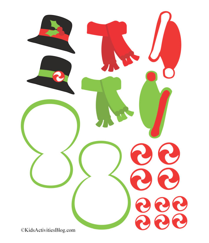 Cute printable snowman decorations - top hat with holly, red and green scarves, elf caps, red swirl candy and snowman icing with green piping.