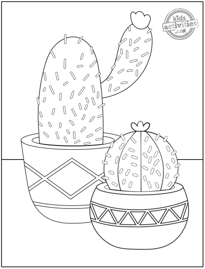 free printable cactus coloring page - flower coloring pages - both cactus shown in flower pots have flowers on the top