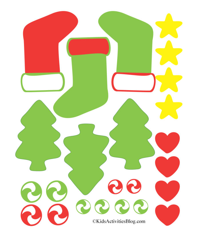 pdf download for decorations of printable gingerbread cookies - Christmas trees and Christmas stockings - stars, hearts, green and red icing and swirl candy