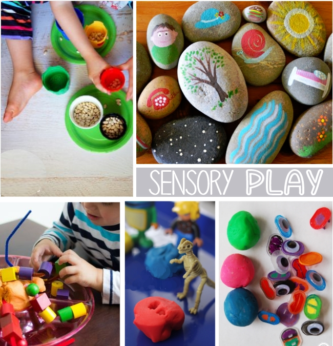 "sensory play for 2 year olds - beans, rocks, beads, dinosaurs and play dough are shown with words ""Sensory Play"