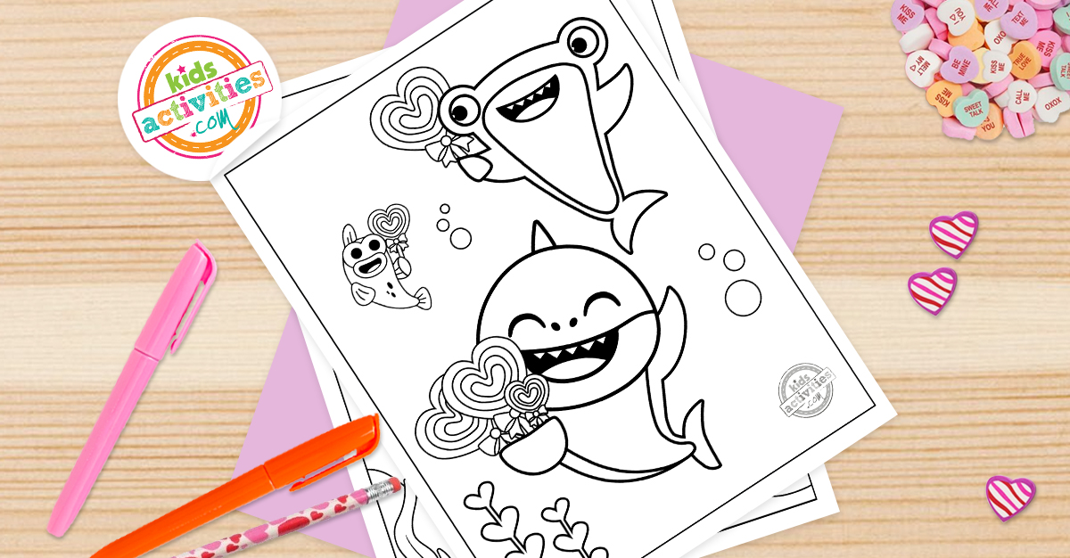 The Most Adorable Baby Shark Valentine Coloring Pages