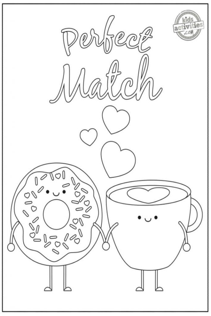 cute coloring page for Valentines day