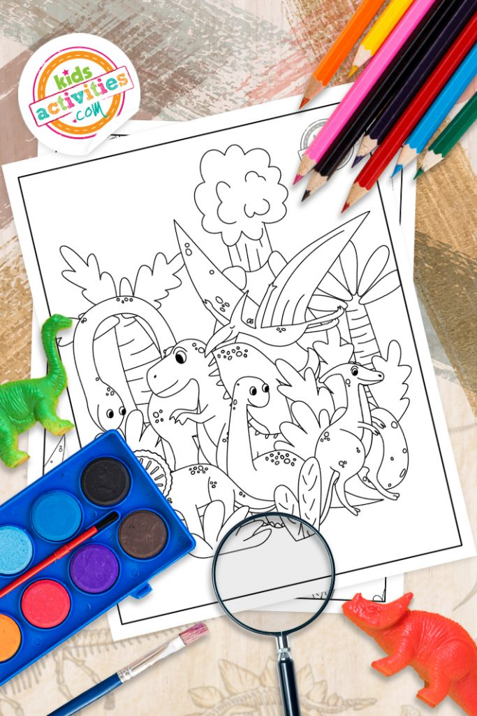 Dinosaur doodle coloring page