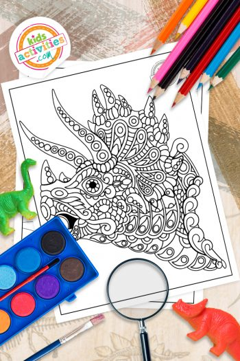Dinosaur Zentangle Coloring Pages
