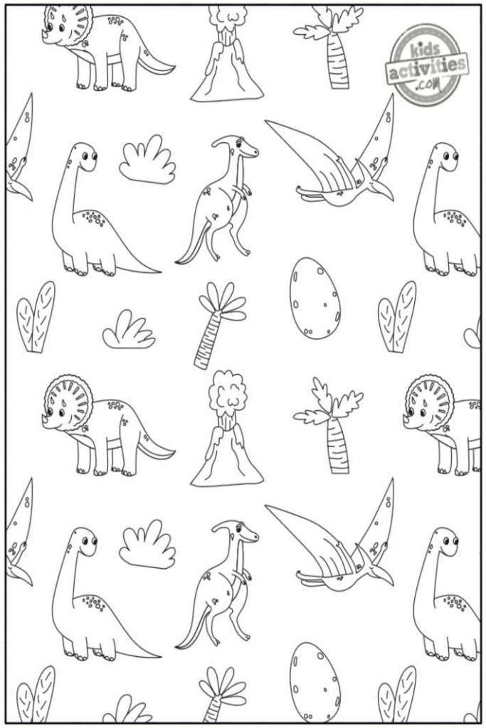 Dinosaur doodle coloring pages