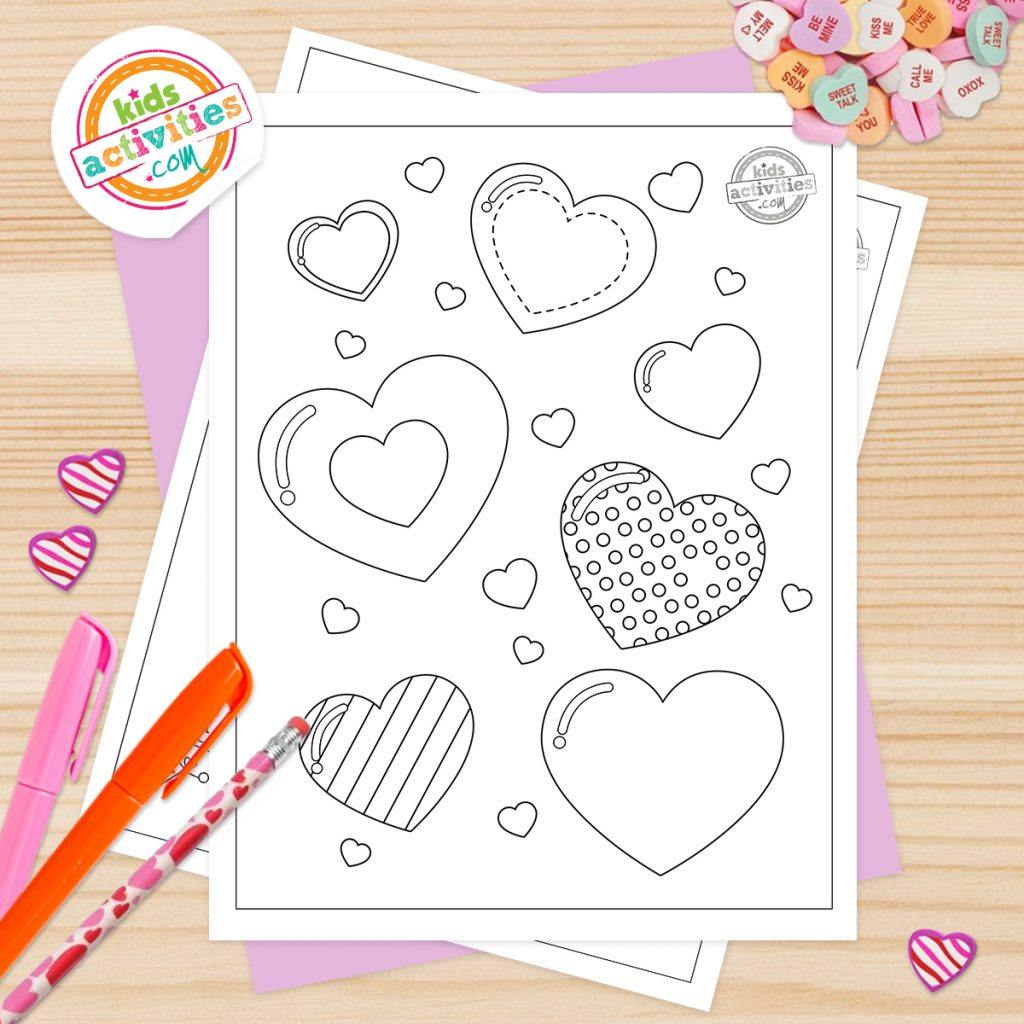 cute heart coloring pages