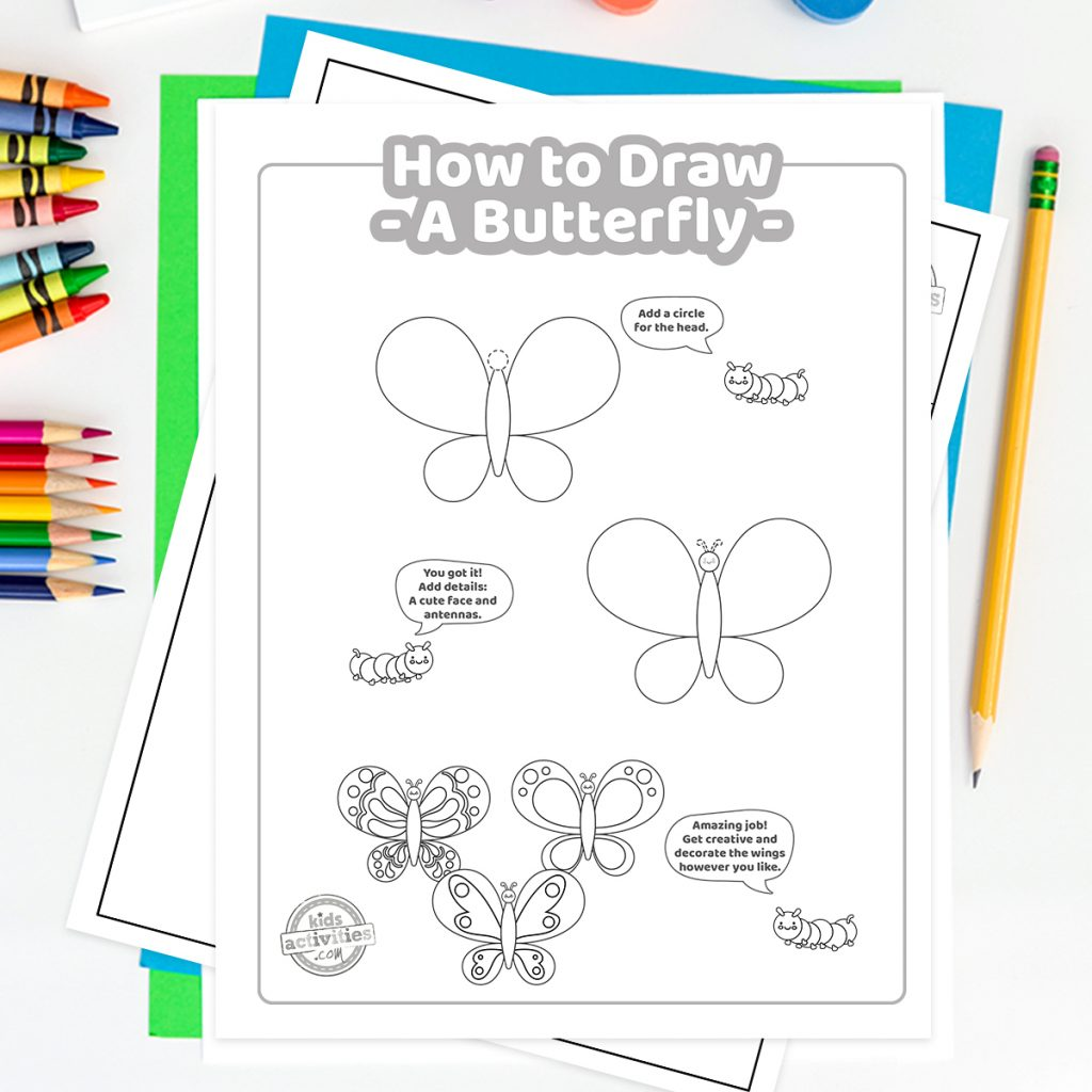 step by step how to draw a butterfly
