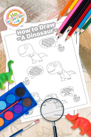 How To Draw a dinosaur coloring page