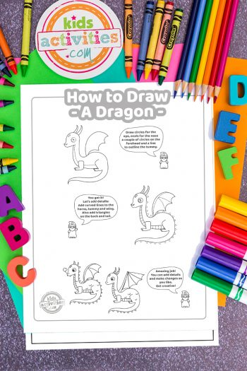 How To Draw a dragon coloring page