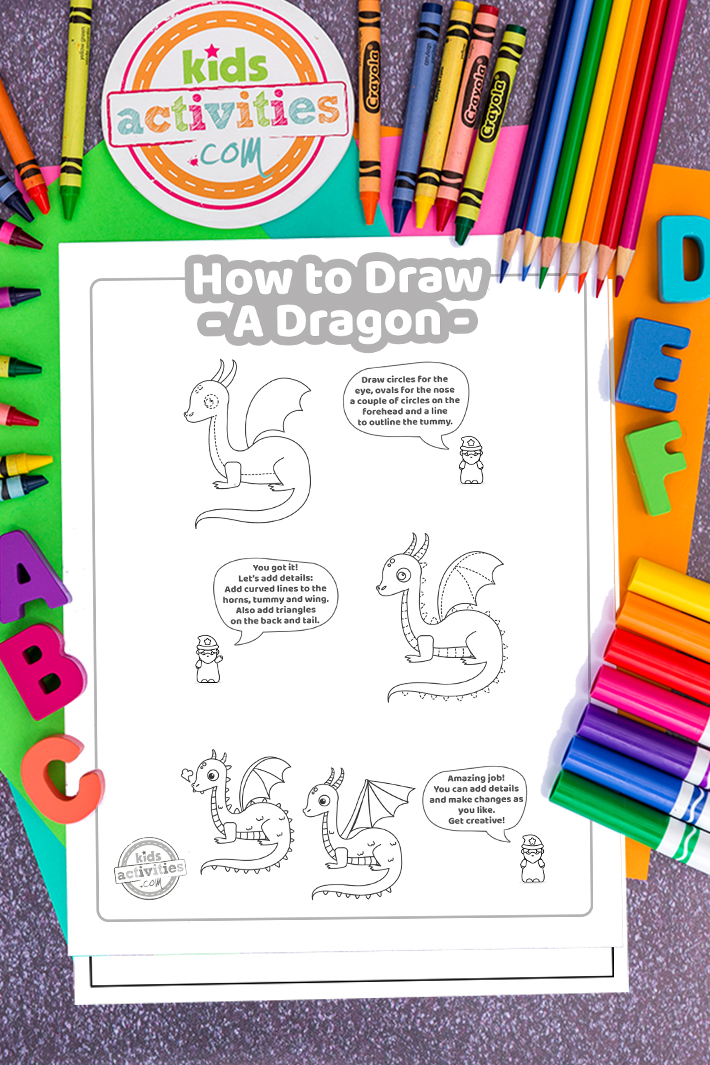 How To Draw a Dragon  – Step by Step Directions for Easy Dragon Drawing