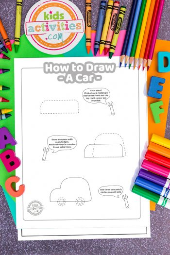 How to draw a car coloring page