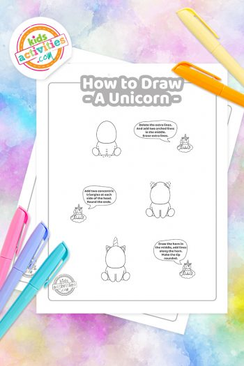 How to draw a unicorn step by step coloring pages