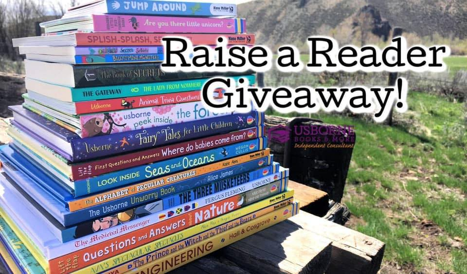 "A stack of books for kids of all ages. Text heading says ""Raise a reader giveaway"""