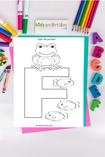 letter F coloring page - Kids Activities Blog - capital letter F with three fish on background of ABC's crayons and markers